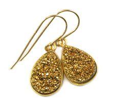 14k Gold Druzy Earrings Golden Sparkle Teardrops Bezel Set Drusy Dangle Drops