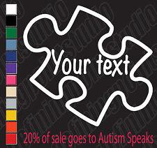 Customizable text Autism Puzzle piece decal sticker vinyl window/laptop/car