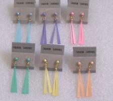 Fab Drop Earrings - 6 Pastel Colours - Retro 1990s Vintage - Pierced or Clip-on