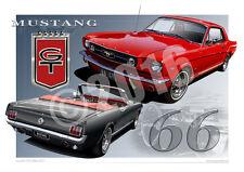 1966 Mustang GT Prints Ford Automotive Art Prints by Unique Autoart (Unframed)