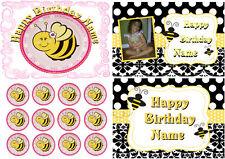 EDIBLE CAKE CUPCAKE IMAGE BEE ICING SUGAR SHEET TOPPER BIRTHDAY PARTY DECORATION