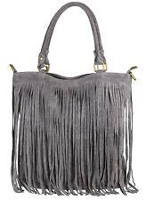 Genuine Suede Real Italian Shoulder Bag Fringe Designer Fashion Top Handle Bag