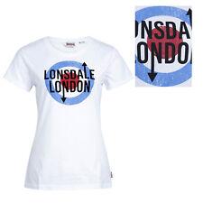 Lonsdale Ladies Womens Target White T-Shirt 100% Cotton Mod Fulford