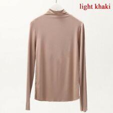 Damen Modal Top T-Shirt Unterhemd Langärmlig Stehkragen Solid Übergröße