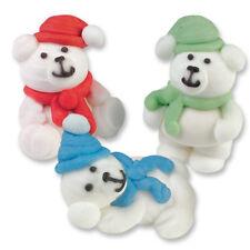 3D CUTE POLAR BEARS CHRISTMAS SUGAR EDIBLE CUPCAKE TOPPERS CAKE DECORATIONS