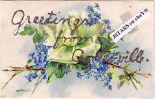 c.1907 CENTERVILLE, WA, ROSE GLITTER GREETINGS POSTCARD