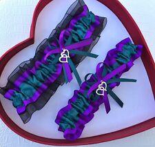 NEW Teal Purple Black Bridal Wedding Garter SEL Single,Set,Reg,Plus Size,Charm