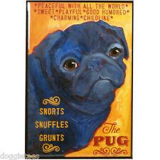 Pug - Dog Portrait - Fridge Magnet - Reproduction Oil Painting