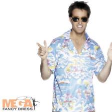 Men Blue Hawaiian Party Stag Fancy Dress Adult Luau National Dress Costume Shirt