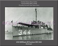USS William B Preston DD 344 Personalized Canvas Ship Photo Print Navy Veteran