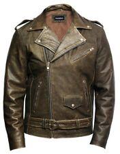 Brandslock Mens Genuine Leather Biker Jacket Cowhide Brando Rustic