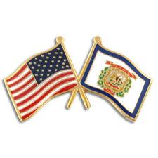 Friendship Flag Enamel Lapel Pin PinMart's West Virginia and Usa Crossed