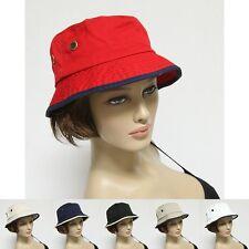 Bucket Hat Cap 100% Cotton Fishing 2 Tone Brim Hiking Sun Safari Womens Mens New