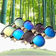 Natural Bamboo Legs Metal Frame Sunglasses Unisex Summer Driving Glasses Eyeware