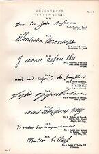 1880 print ~ autographes 17TH siècle ~ inc anne d'autriche oliver cromwell etc