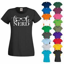 BOOK NERD Glasses Brainy Literature Specs Writing Geek Ladies Womens T Shirt Top