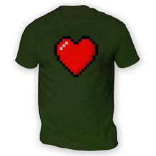 16 Bit Heart Mens T-Shirt -x13 Colours- Retro Game Console Platform Valentines