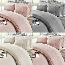 Grace Lace Teddy Fleece Duvet Cover Set with Pillow Cases Bedding
