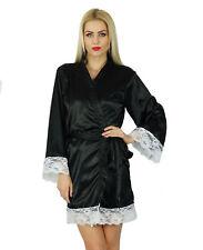Bimba Women Kimono Satin Short Robe Getting Ready Bride Black Bridesmaid Coverup
