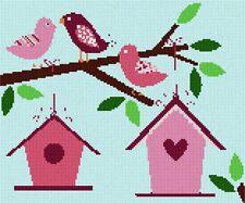 Birdhouses Needlepoint Kit or Canvas (Animal)
