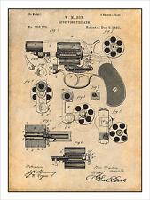 1881 Mason Revolving Fire Arm Pistol Gun Patent Print Art Drawing Poster 18X24