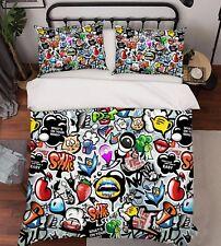 3D Cartoon Graffiti Style 43 Bed Pillowcases Quilt Duvet Cover Set Single Queen