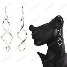 silver fashion Elegant Spiral mini hoops Clip On pierce look Twist Drop Earrings