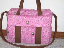 Pink John Deere custom handmade EMIJANE Diaper Bag w/chang pad free emboidery