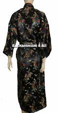 Elegant Dragon Design Silk Satin Kimono Robe Sleepwear Long w/ Waist Tie, Black