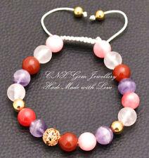 Chakra Gem Crystal Beads Bracelet 18k Gold GP Amethyst Rose Quartz Fire Agate