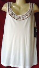 Women's Beaded Sleeveless Pullover Top White Beige NWT