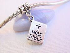3D Silver Holy Bible Catholic Christian Slide European Dangle Charm fit Bracelet