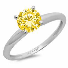 2ct Round Cut Yellow Stone Wedding Bridal Promise Designer Ring 14k White Gold