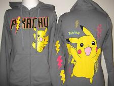 New POKEMON Pikachu Women's JR Hoodie XS  XL   Grey Print on Back