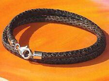 Ladies Brown snake-print leather & sterling silver bracelet by Lyme Bay Art