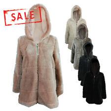 AMAVISSE UK - (RRP £70) Women Fashion Long Soft Acrylic Fur Coat Jacket Hood
