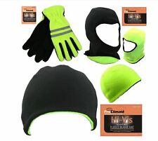 Mens Hi Vis Visibility Fleece Grip Gripper Gloves, Reversible Hat or Balaclava