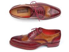 Paul Parkman Men's Triple Leather Sole Wingtip Brogues Bordeaux & Camel (ID#027-