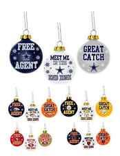 NFL Football Team Logo 3 Pack Slogan Glass Ball Ornaments - Pick Your Team!