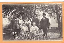 Real Photo Postcard RPPC People Garden of Iris Flowers