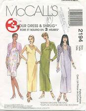 McCalls 2194 Misses 3 Hour Dress & Shrug Sewing Pattern