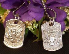 US Half Dollar coin Dog Tag 50 cent piece necklace eagle men USA silver