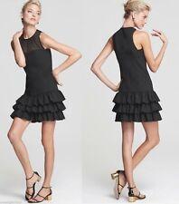 $325 Cynthia Steffe Black Ruffle Illusion Neckline Tasty Stretch Wool Dress