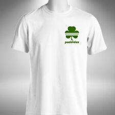 Paddidas Mens T-Shirt Funny Saint Patrick's Day Ireland Clover Leaf Heart Logo
