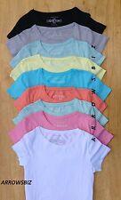Femmes Col Rond Manches Courtes Basique Uni T-Shirts Haut Tailles UK 6 - 20