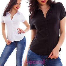 Camicia donna avvitata cotone maniche corte business elegante sfiancata 0332-2