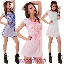 Miniabito donna vestito vestitino corto tulle stampa maniche corte nuovo 078