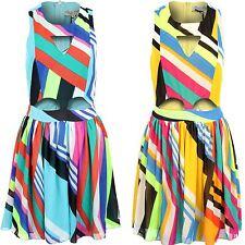 Ladies Multi Colour Stripe Cut Out Front Flare Skirt Women's Short Dress 8-14