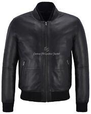 Mens Leather Jacket Black Perforated Genuine Leather Pilot Aviator Jacket 4348