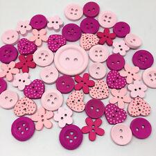 lot de 10 Bouton bois mixte rond fleur cœur rose Scrapbooking Mercerie couture